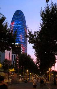 Torre Agbar is a skyscraper which has more than 4,000 led generating bright images on its facade.