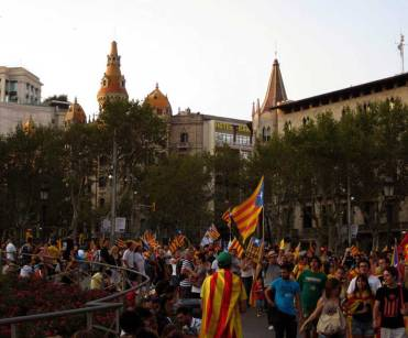 Celebrations at Plaza Catalunya - 'Diada Day' on 11th September