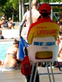 The lagoon is patrolled by lifeguards.