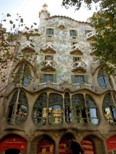 The façade of the Casa Batlló is made of sandstone covered with colourful trencadis (a Catalan type of mosaic)